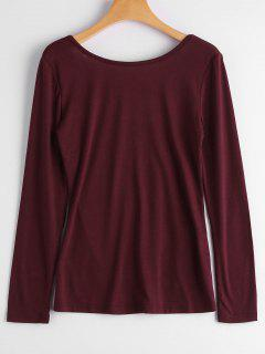 Long Sleeve Backless T-shirt - Wine Red S