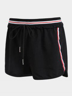Striped Double Layered Sporty Shorts - Black M