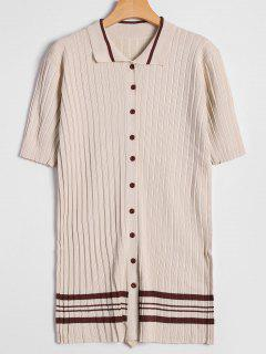 Striped Button Up Knitted Dress - Beige