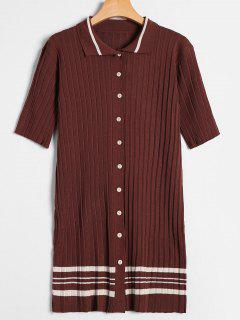 Striped Button Up Knitted Dress - Coffee