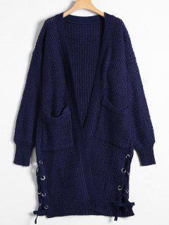 Long Chunky Knit Lace-Up Cardigan - Purplish Blue