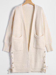 Long Chunky Knit Lace-Up Cardigan - Off-white