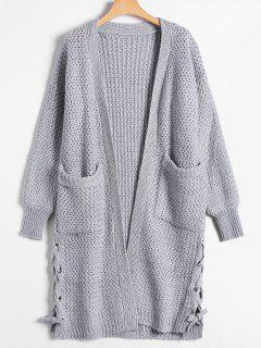 Long Chunky Knit Lace-Up Cardigan - Gray