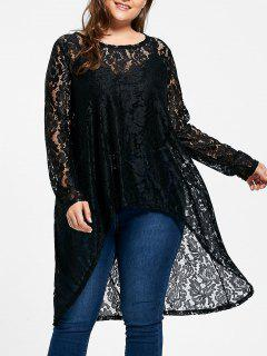 Sheer Plus  Size High Low Flower Lace Blouse - Black 5xl