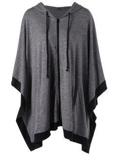 Zip Up Plus Size Hooded Cape Coat - Gray 3xl