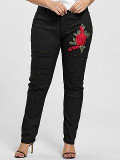 Plus Size Floral Embroidered Ripped Jeans - Black 3xl