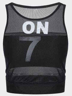 Padded Mesh On Sporty Top - Black S