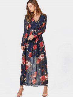 Vestido Con Cuello En V - Floral L
