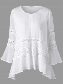 Lace Insert Bell Sleeve Sheer Blouse - White L