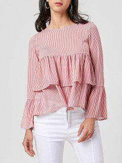 Bell Sleeve Striped Layered Blouse - Pink L