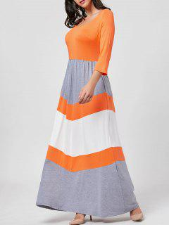Scoop Neck Chevron Stripe Maxi Dress - Orange Xl