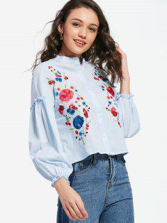Chemise Brodée à Fleurs Manches Pouffantes à Volants - Bleu Clair S