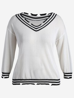 Distressed Plus Size Cricket Sweater - White