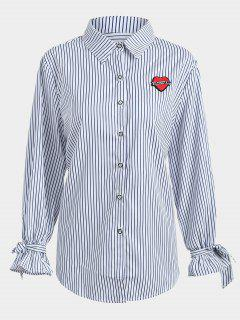 Plus Size Applique Striped Shirt - Purplish Blue 4xl