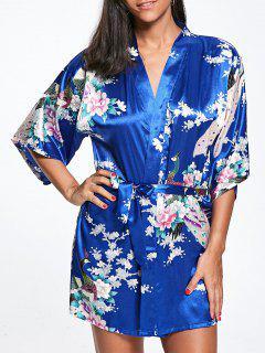 Peacock Floral Satin Kimono Pajama - Blue S