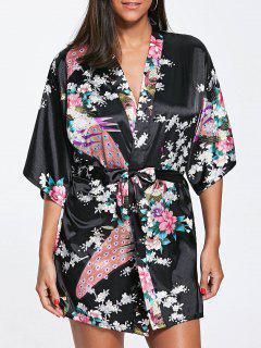 Peacock Floral Satin Kimono Pajama - Black Xl