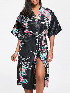 Floral Satin Pajama Kimono - Black 2xl