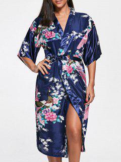 Floral Satin Pajama Kimono - Deep Blue S