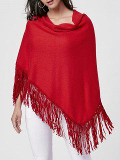 Poncho Fringe De Collier - Rouge Vineux