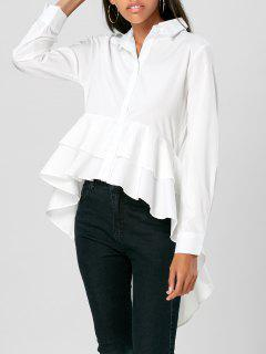 High Low Asymmetric Flounce Shirt - White M