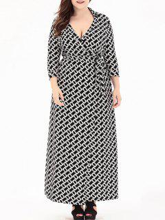 Plus Size Plunge V Neck Maxi Wrap Dress - Black 5xl