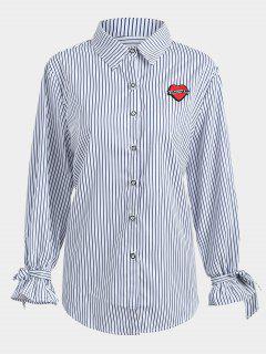Plus Size Applique Striped Shirt - Purplish Blue 2xl