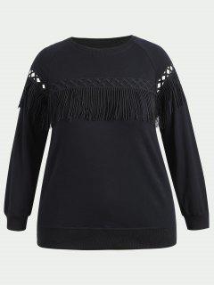 Plus Size Fringe Sweatshirt - Black 4xl