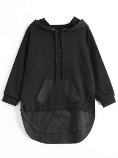 Patch Pocket Shirt Hem Hoodie - Black M