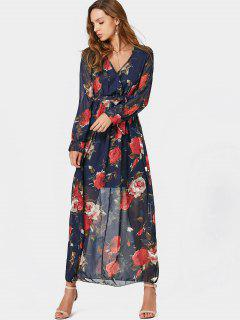 V Neck Floral Print Belted Maxi Dress - Floral M