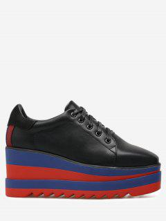 Tie Up Platform Square Toe Wedge Shoes - Black 38