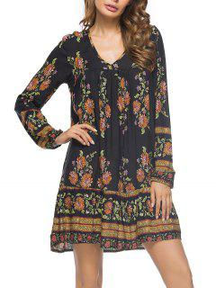 Floral Print V Neck Mini Dress - Black M