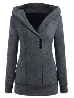 Button Pullover Heathered Hoodie - Gray L
