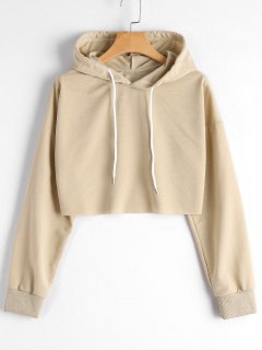 Dropped Shoulder Cropped Hoodie - Khaki S