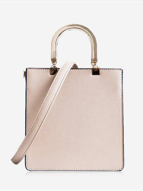 Faux Leder Handtasche mit Band - Khaki  Mobile
