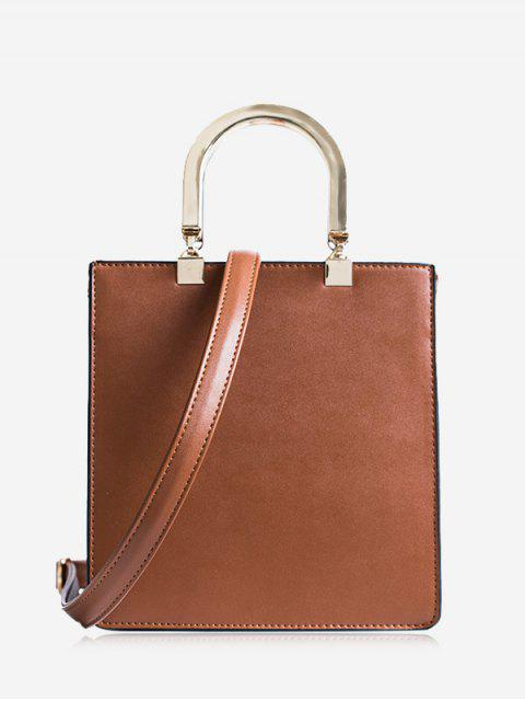 lady Faux Leather Handbag With Strap - BROWN  Mobile