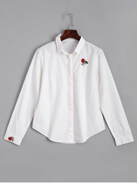 Chemise Brodée Rose à Boutons Cachés - Blanc XL Mobile