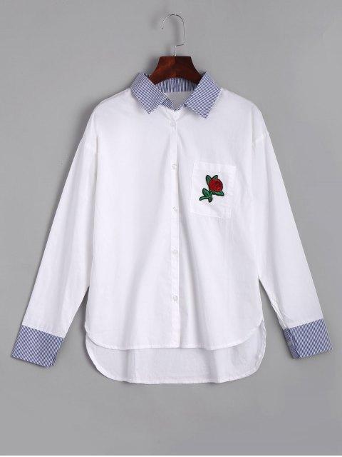 Rose Brodé Stripes High Low Shirt - Blanc L Mobile