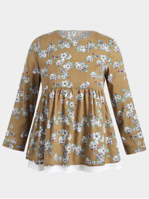 shop Plus Size Floral Babydoll Top - YELLOW 2XL Mobile