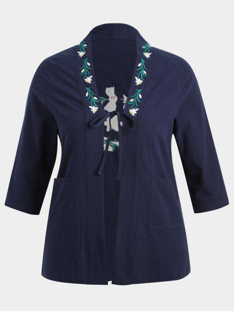 hot Plus Size Flower Embroidered Kimono - PURPLISH BLUE 2XL Mobile