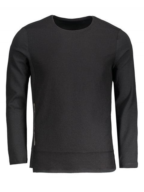 Haut à manches longues en coton zippé - Noir 2XL Mobile