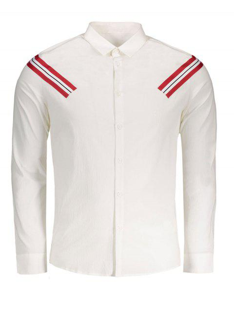 shops Stripe Applique Shirt - WHITE 3XL Mobile