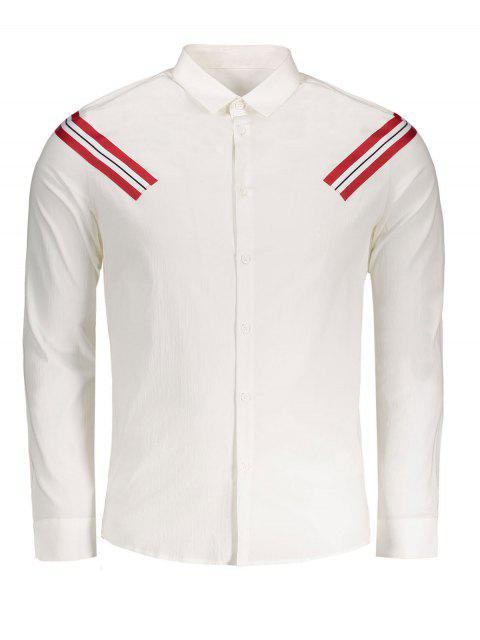Stripe Applique Camiseta - Blanco 2XL Mobile