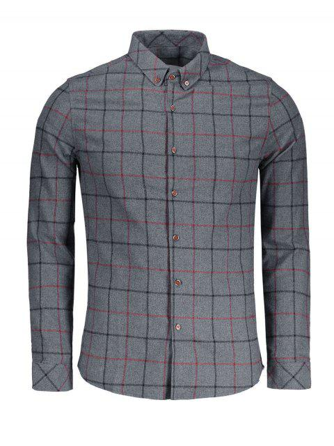 fancy Checked Flannel Shirt - DEEP GRAY 2XL Mobile