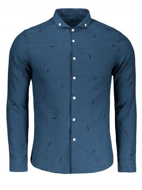 hot Button Down Printed Casual Shirt - BLUE XL Mobile