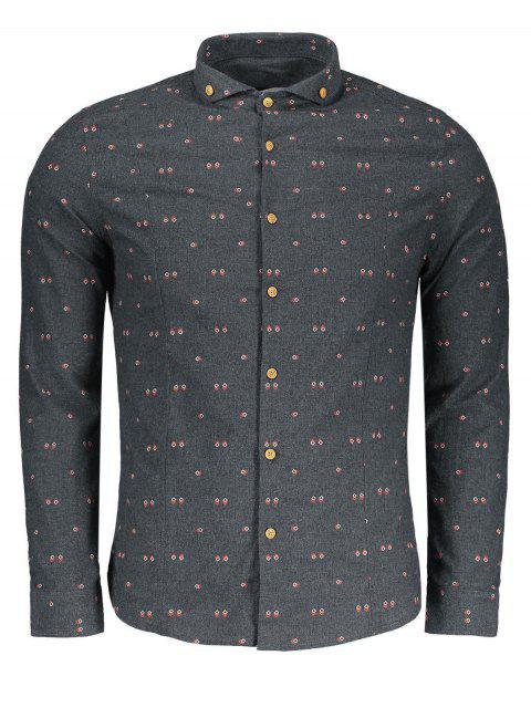 women Geometrical Print Button Down Shirt - GRAY 2XL Mobile