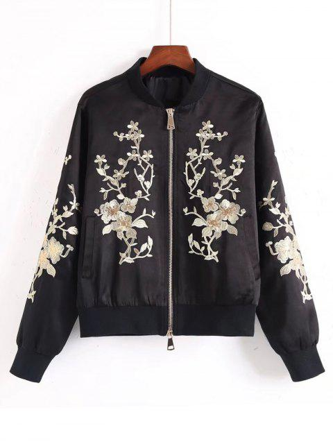 latest Sequins Floral Embroidered Bomber Jacket - BLACK S Mobile
