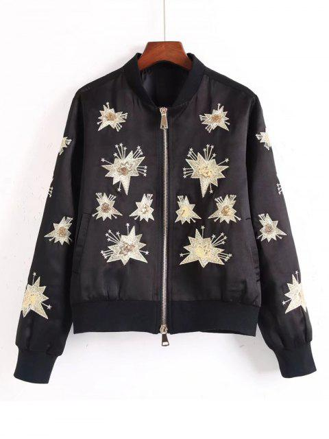 unique Sequins Embroidered Bomber Jacket - BLACK M Mobile