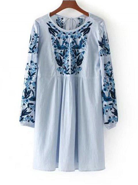 fashion Long Sleeve Stripes Embroidered Tassels Dress - BLUE L Mobile
