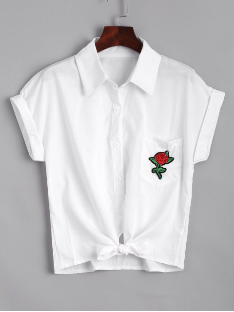 trendy Short Floral Embroidered Bow Tied Shirt - WHITE S Mobile