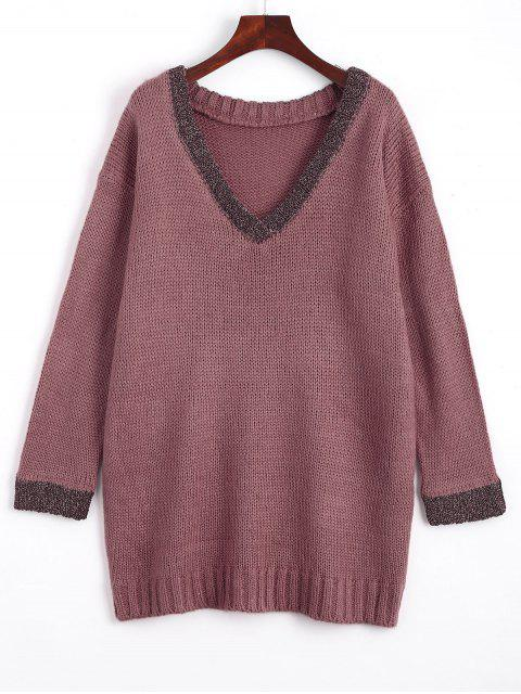 outfit Loose Contrasting V Neck Sweater - PURPLE ONE SIZE Mobile